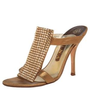 Gina Gold Leather and Crystal Embellished Slide Sandals Size 38