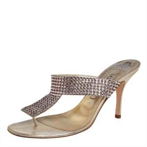 Gina Gold Leather Crystal Embellished Slip On Sandals Size 39.5