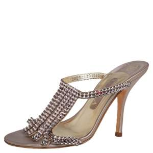 Gina Pink Crystal Embellished Leather Mule Sandals Size 38