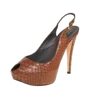 Gina Brown Python Peep Toe Platform Slingback Sandals Size 39