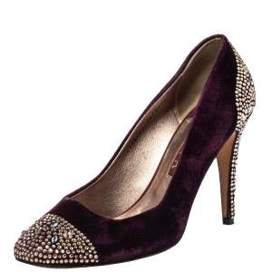 Gina Purple Velvet Crystal Embellishment Platform Pumps Size 40.5