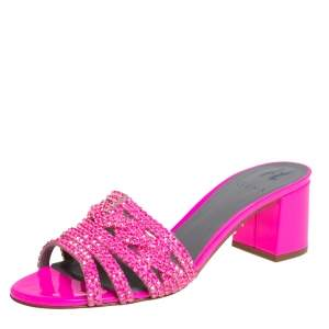 Gina Pink Crystal Embellished Leather Block Heel Slide Sandals Size 40