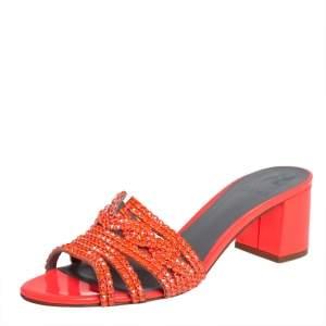 Gina Neon Orange Crystal Embellished Leather Block Heel Slide Sandals Size 40.5