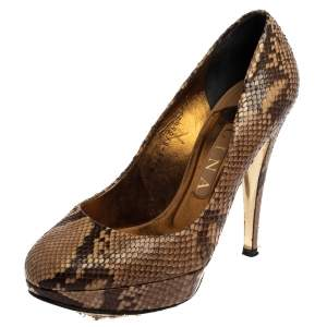 Gina Brown Python Leather Platform Pumps Size 38