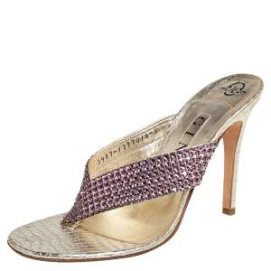 Gina Gold Leather Crystal Embellished Thong Sandals Size 38