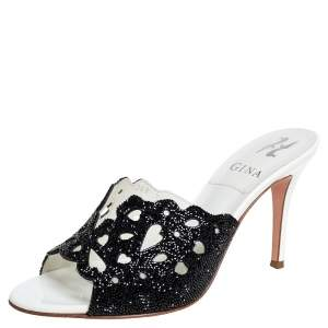 Gina Black Crystal Embellished Leather Slide Sandals Size 37