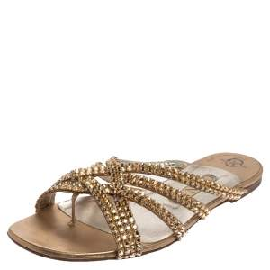 Gina Gold Leather Crystal Embellished Flat Slides Size 38.5