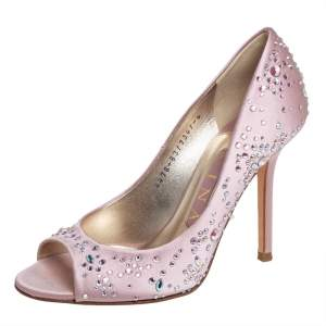 Gina Pink Satin Crystal Embellished Peep Toe Pumps Size 37