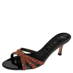 Gina Black Leather Crystal Embellished Slide Sandals Size 38