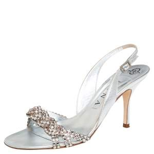 Gina Silver Swarovski Crystal Embellished Leather Naomi Slingback Sandals Size 39