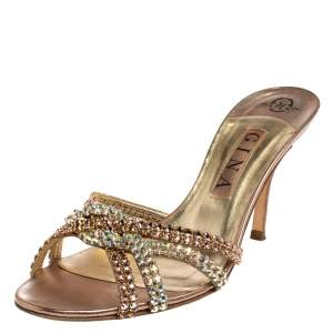 Gina Metallic Bronze Crystal Embellished Leather Slide Sandals Size 39.5