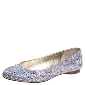 Gina Purple Crystal Embellished Satin Ballet Flats Size 38.5