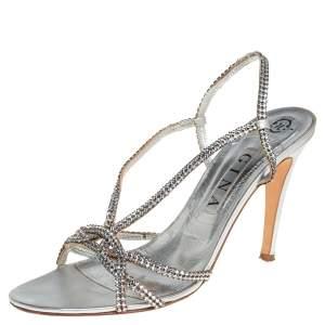 Gina Metallic Silver Leather Crystal Embellished Slingback Sandals Size 41