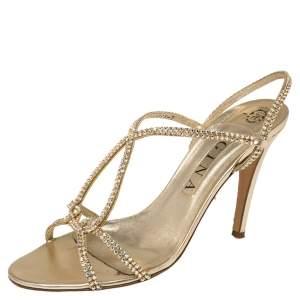 Gina Gold Crystal Embellished Leather Strappy Slingback Sandals Size 40
