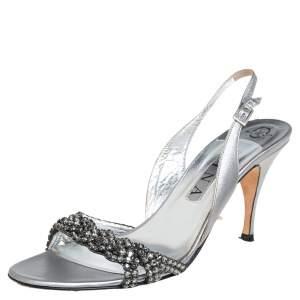 Gina Metallic Sliver Leather Crystal Embellished Slingback Sandals Size 40.5