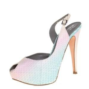 Gina Multicolor Python Leather Peep Toe Slingback Sandals Size 38.5