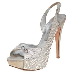 Gina Grey Satin Embellished  Platform Sandals Size 38.5
