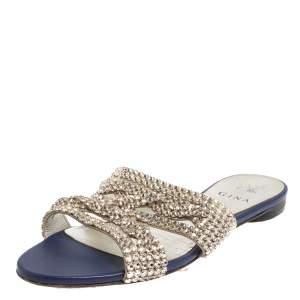 Gina Blue Leather  Crystal Embellished Loren Flat Sandals Size 39