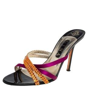 Gina Multicolor Satin And Leather Crystal Embellished Cross Sandals Size 40.5