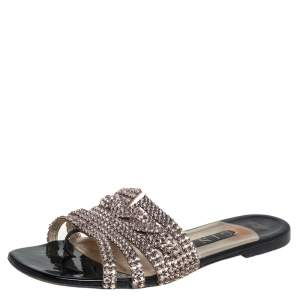 Gina Rose Gold Leather Embellished Sandals Size 38.5