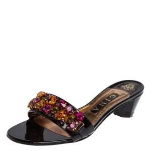 Gina Black Patent Leather Crystal Embellished Mule Sandals Size 38