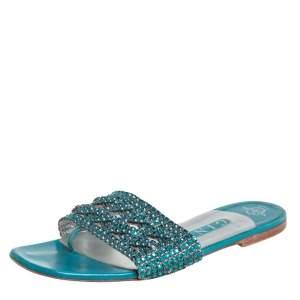 Gina Blue Leather Embellished Flat Sandals Size 39
