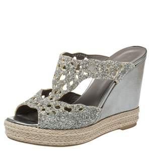 Gina Silver Glitter Wedge Platform Sandals Size 38