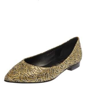 Gina Metallic Yellow Glitter Pointed Toe Ballet Flats Size 37