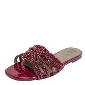 Gina Pink Leather Crystal Embellished Flat Slide Sandals Size 38