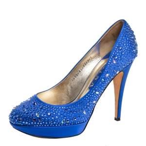 Gina Blue Satin Crystal Embellished Platform Pumps Size 40