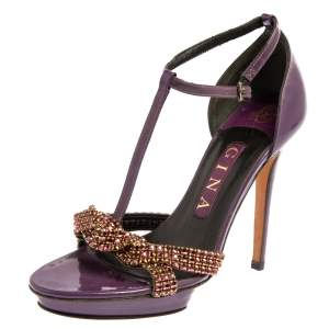 Gina Purple Patent Leather Embellished Sandals Size 37