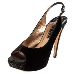 Gina Black Velvet Slingback Platform Sandals Size 40.5