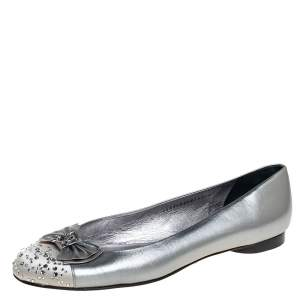 Gina Metallic Silver Leather And Satin Crystal Embellished Cap Toe Bow Ballet Flats Size 42