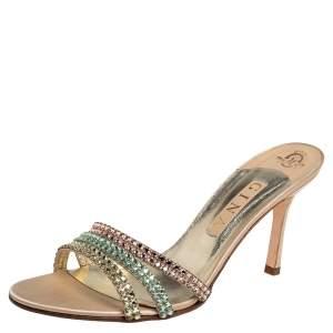 Gina Gold Satin Embellished Sandals Size 41