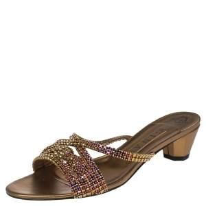 Gina Gold Leather Crystal Embellished Slide Sandals Size 41