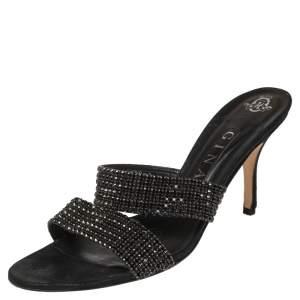 Gina Black Leather Crystal Embellished Slide Sandals Size 41