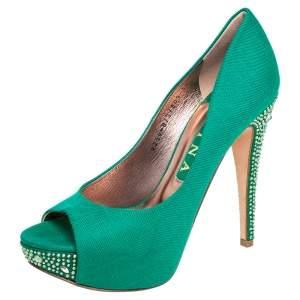 Gina Green Canvas Crystal Embellished Heel Peep Toe Platform Pumps Size 38.5