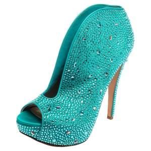 Gina Blue Satin Crystal Embellished Calamity Boots Size 38.5