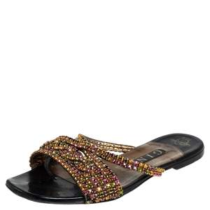 Gina Black Leather Crystal Embellished Slide Sandals Size 37