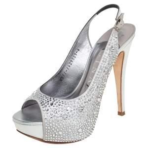 Gina Grey Satin Crystal Embellished Slingback Platform Sandals Size 37