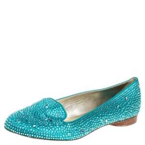 Gina Blue Satin Crystal Embellished Loafers Size 39