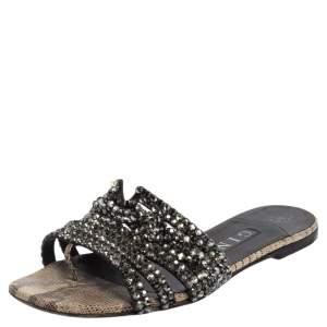 Gina Black Crystal Embellished Leather Loren Slide Sandals Size 37