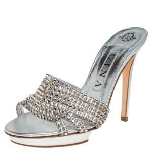 Gina Silver Crystal Embellished Leather Slide Sandals Size 37.5