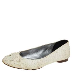 Gina Cream Python Leather Ballet Flats Size 38