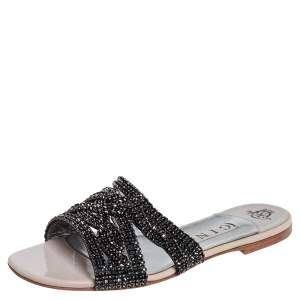 Gina Black Leather  Crystal Embellished Dakota Sandals Size 38