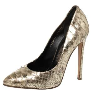 Gina Gold Python Pointed Toe Pumps Size 38