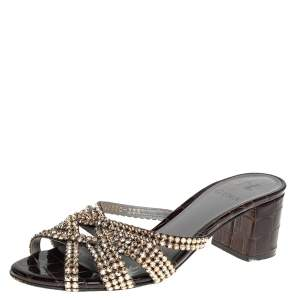 Gina Dark Brown Croc Embossed Patent Leather Crystal Embellished Dexie Sandals Size 38.5