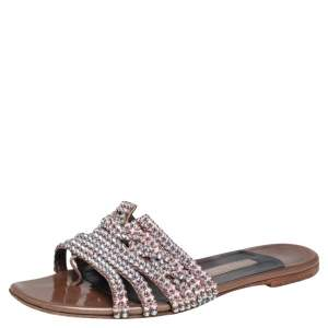 Gina Brown Leather Crystal Embellished Flats Size 37.5