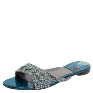 Gina Blue Leather  Embellished Sandals Size 40.5