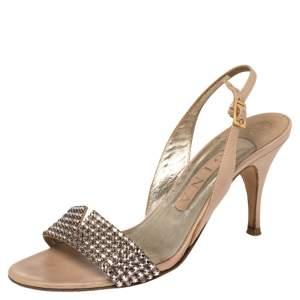 Gina Beige Leather Crystal Embellished Slingback Sandals Size 37.5